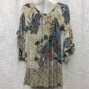 Win Win Multicolored Tie Sleeve Top Size S-M